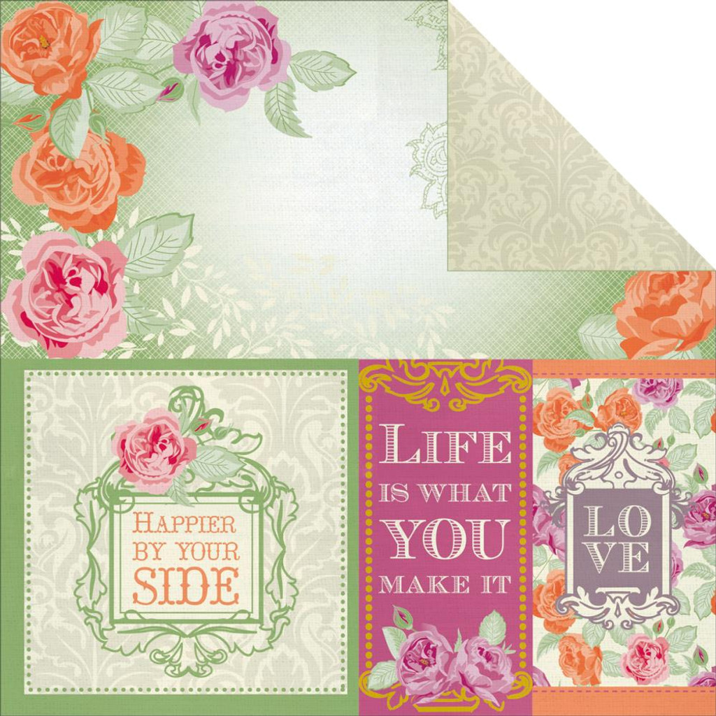 "Kaisercraft - Double-Sided scrapbooking paper 12""X12"" - Flora Delight - Happiness P1073"