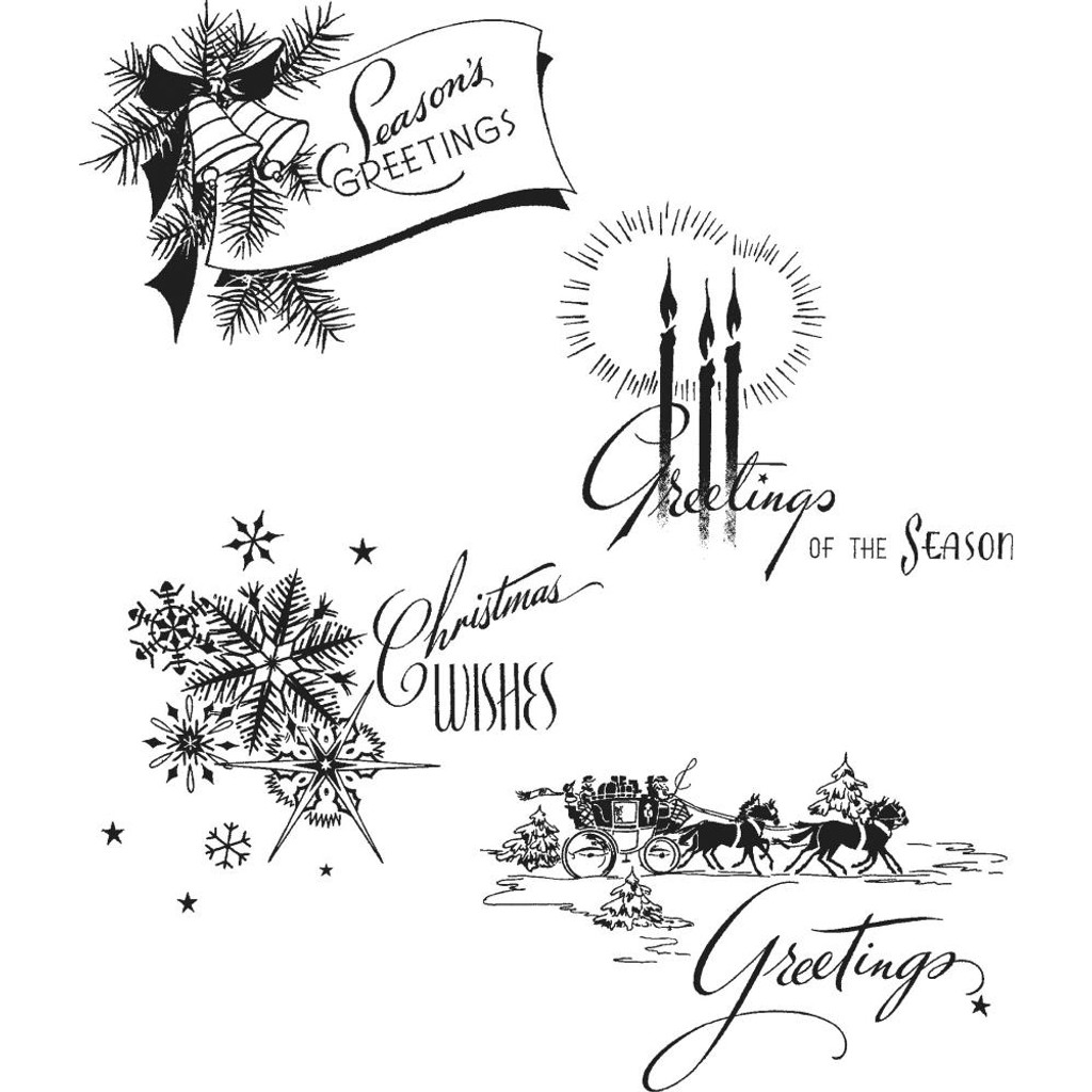 "Tim Holtz - Stampers Anonymous - Cling Stamps 7""X8.5"" - Holiday Greetings CMS353"