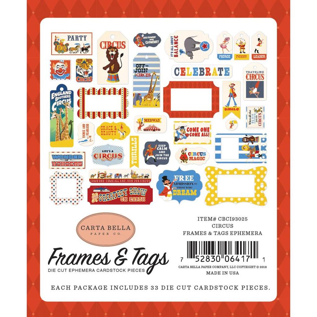 Carta Bella - Ephemera Cardstock Die-Cuts 33/Pkg Frames & Tags - Circus CI93025