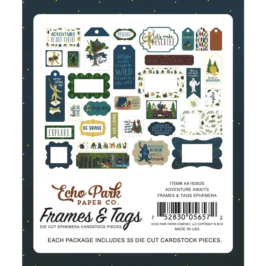 Echo Park - Ephemera Cardstock Die-Cuts 33/Pkg - Frames & Tags - Adventure Awaits AA163025