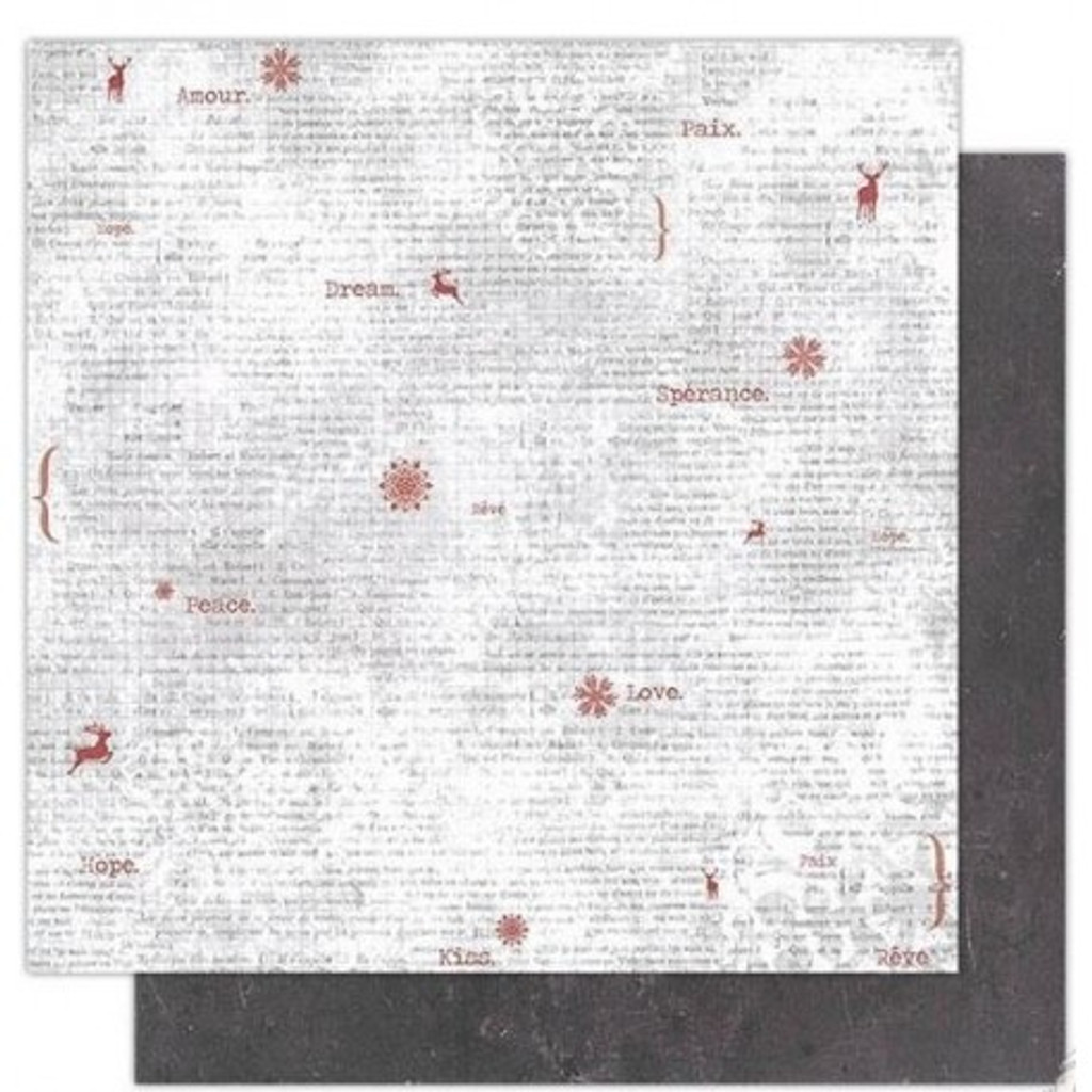 Stamperia - Double sided 12x12 Paper - Red Snowflakes & Words (SBB337)
