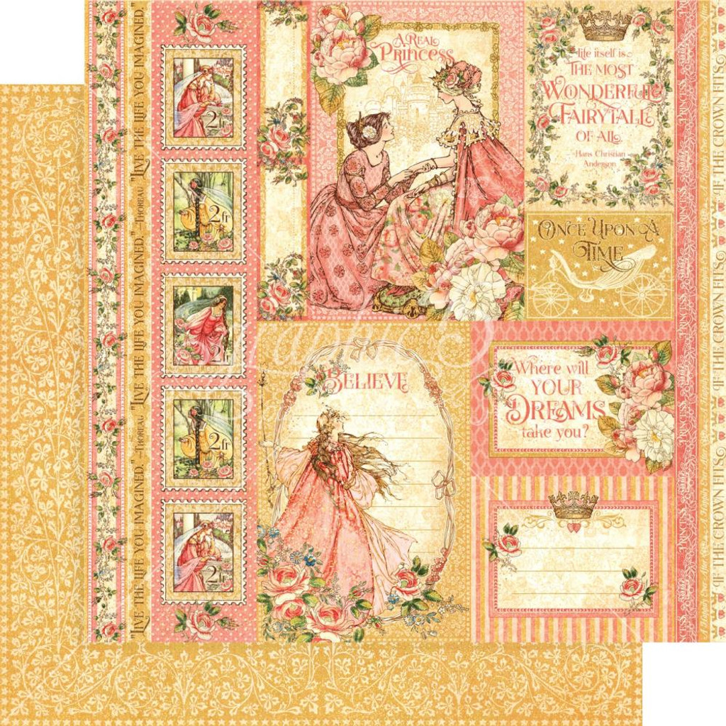 "Graphic 45 - Double -Sided Cardstock 12""x12"" - Princess - Beautiful Maiden (557358)"