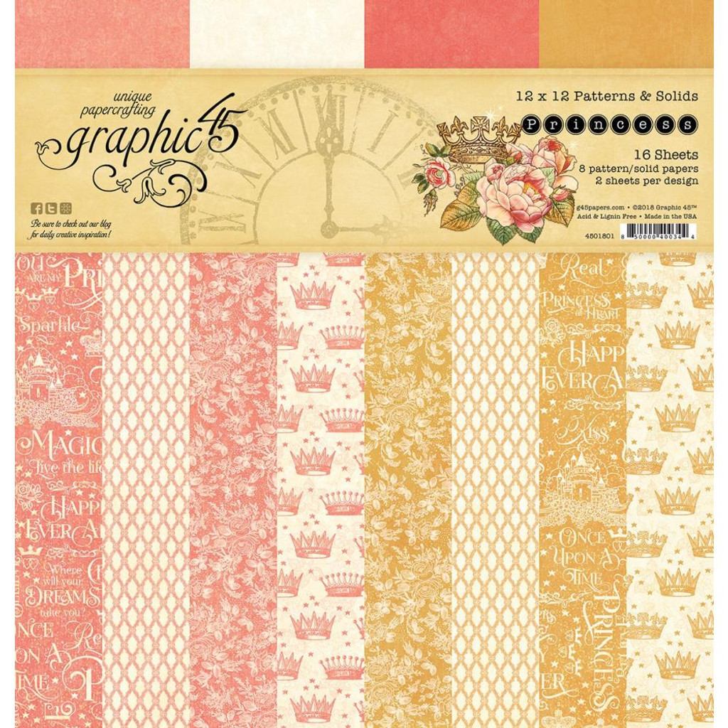 "Graphic 45 - Patterns & Solids Double-Sided Paper Pad 12""X12"" 16/Pkg - Princess G4501801"