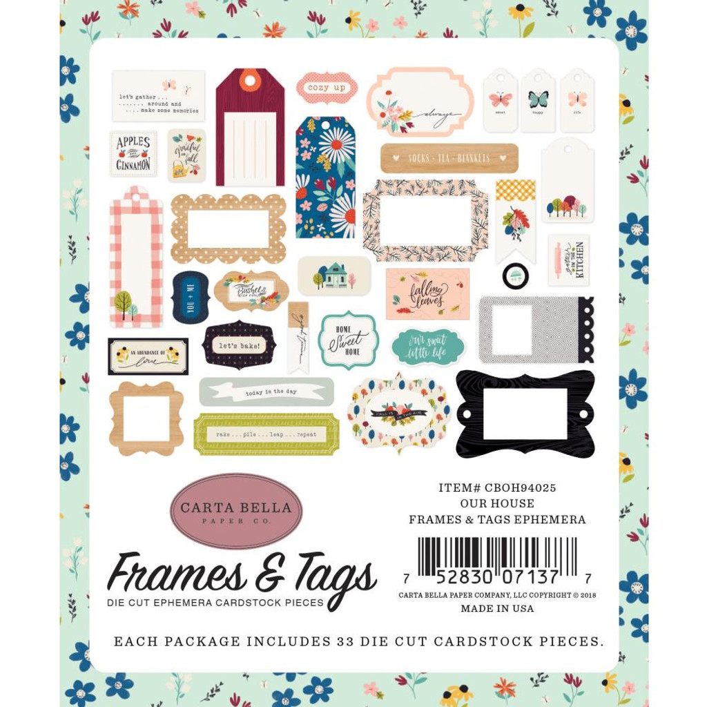 Carta Bella - Ephemera Frames & Tags Cardstock Die-Cuts 33/Pkg - Our House OH94025