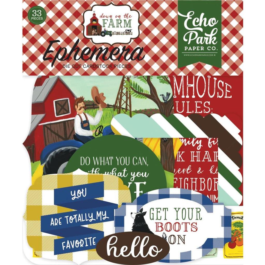 Echo Park - Ephemera Icons Cardstock Die-Cuts 33/Pkg - Down On The Farm DO182024