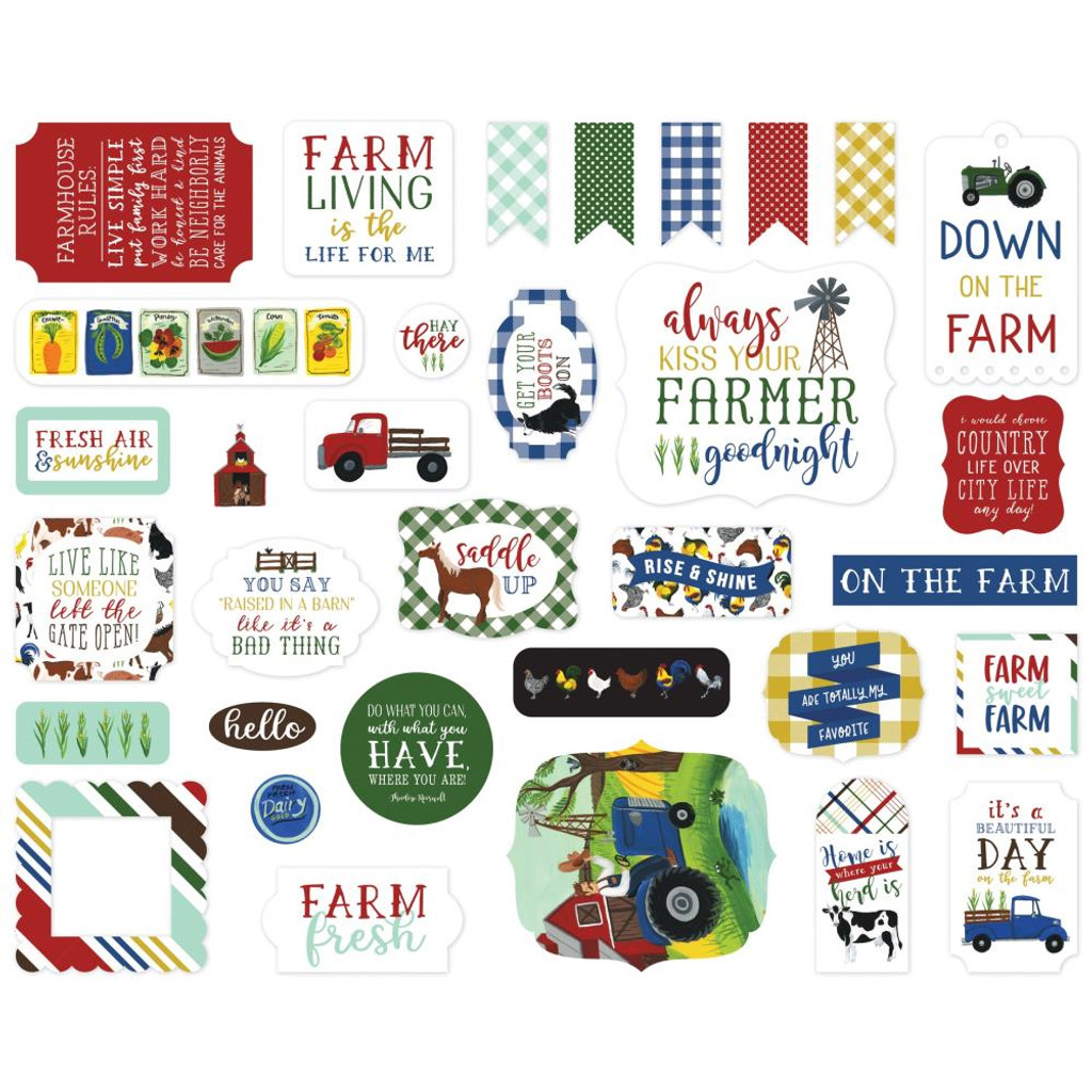 Echo Park - Ephemera Icons Cardstock Die-Cuts 33/Pkg - Down On The Farm DO182024