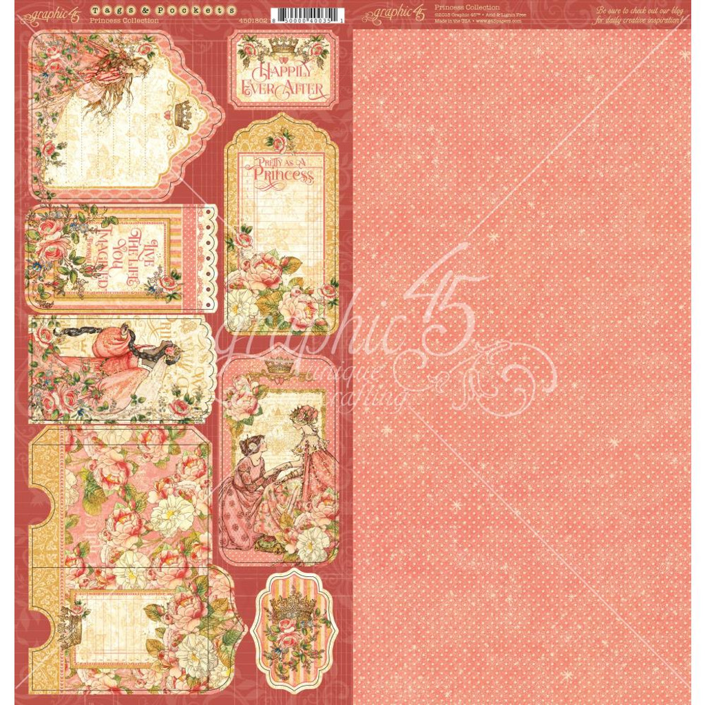"Graphic 45 - Tags & Pockets Cardstock Die-Cuts 6""X12"" Sheets 2/Pkg - Princess G4501802"