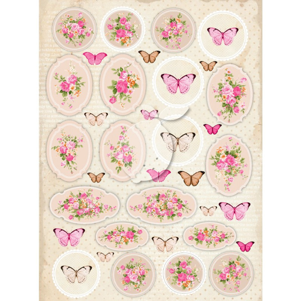 Lemon Craft - Decorative paper - Cut-apart Tags & Images - Vintage Time 029  LP-VT029