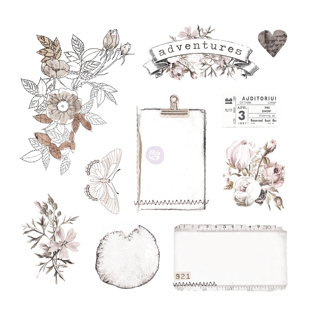 Prima - Ephemera & Acetate 40 pieces - Pretty Pale 631819