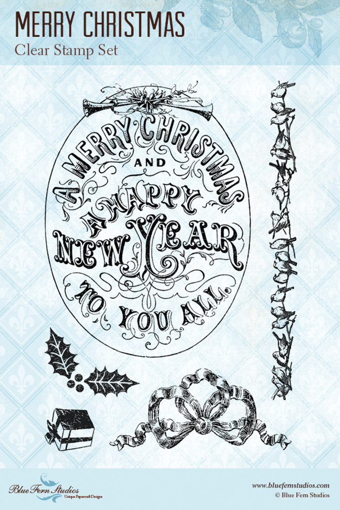 Blue Fern Studios - Clear Stamp - Merry Christmas (104077)