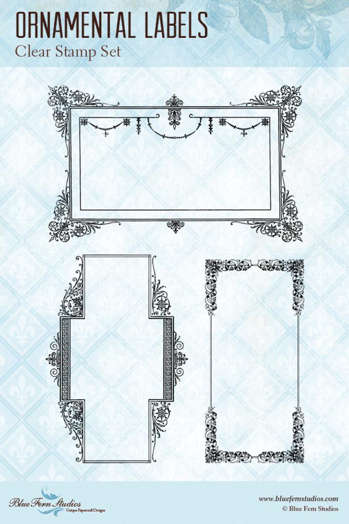 Blue Fern Studios - Clear Stamp - Ornamental Labels (104275)