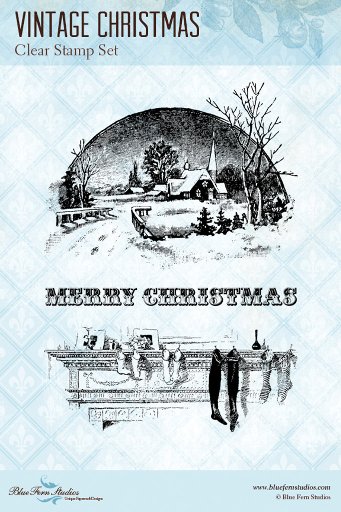 Blue Fern Studios - Clear Stamp - Vintage Christmas (103971)
