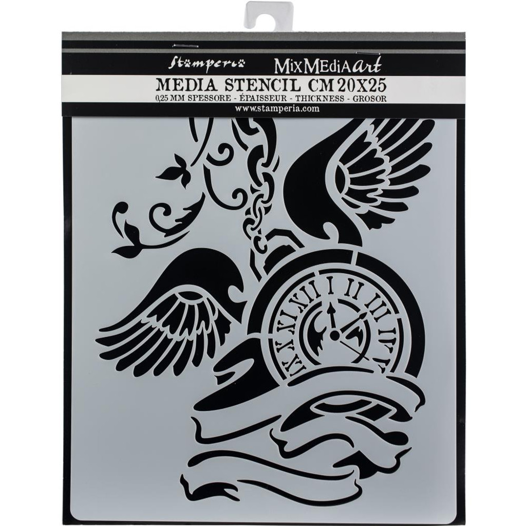 "Stamperia - Stencil 7.87"" X 9.84"" - Clock With Wings"