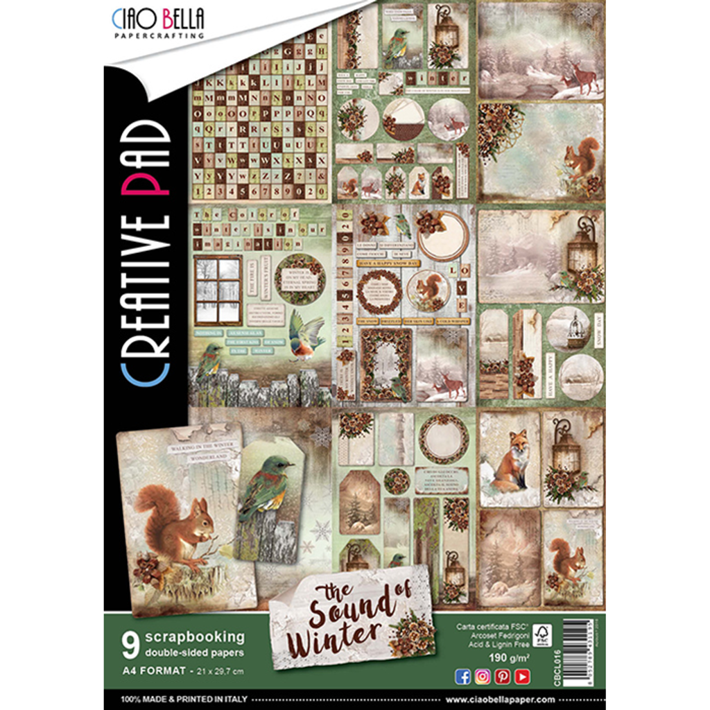 Ciao Bella - Creative Pad Double-Sided Paper A4 9/Pkg - Sound of Winter (CBCL016)