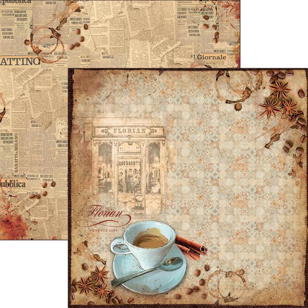 "Ciao Bella - 12""X12"" Double-Sided Paper - Buongiorno Italian - Caffe Florian (CBS005)"