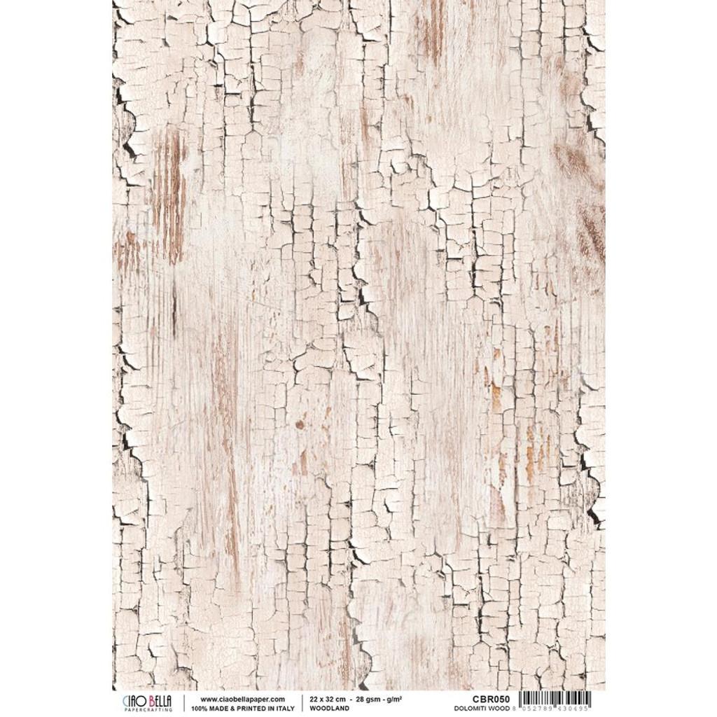 Ciao Bella - Woodland Collection - Dolomiti Wood - Piuma Carta Riso Rice Paper Sheet (CBR050)