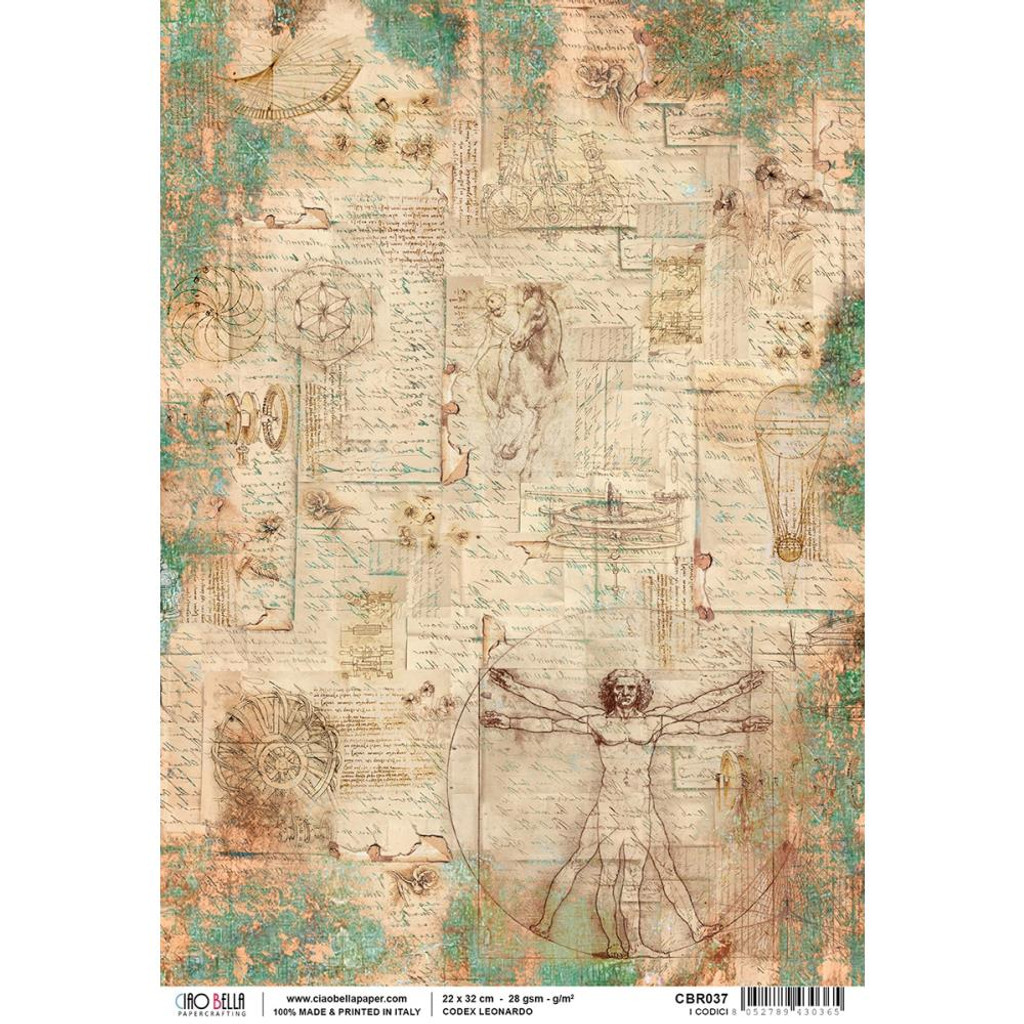 Ciao Bella - Codex Leonardo Collection - I Codici - Piuma Carta Riso Rice Paper Sheet (CBR037)