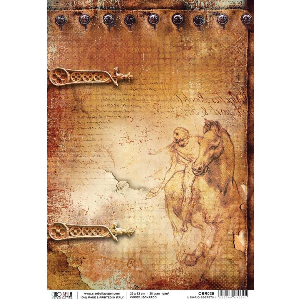 Ciao Bella - Codex Leonardo Collection - Il Diario Segreto - Piuma Carta Riso Rice Paper Sheet (CBR035)