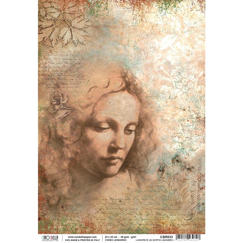 Ciao Bella - Codex Leonardo Collection - L'amore E Un Soffio Leggero - Piuma Carta Riso Rice Paper Sheet  (CBR033)