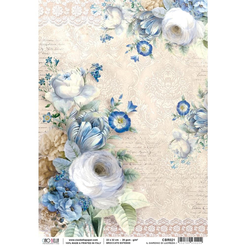 Ciao Bella - Broccato Estense Collection - Il Giardino Di Lucrezia - Decoupage Rice Paper Sheet (CBRP051)