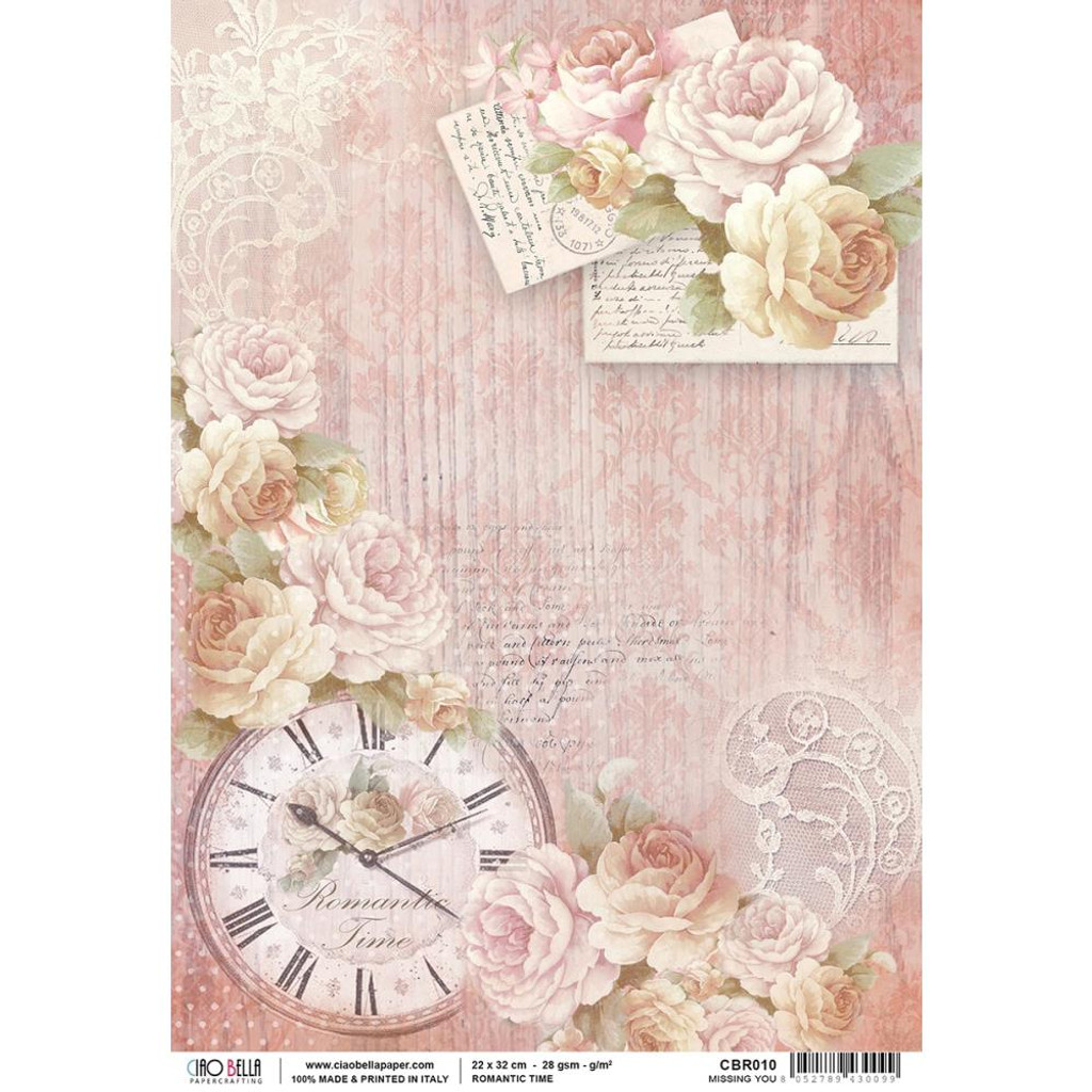 Ciao Bella - Romantic Time Collection - Missing You - Piuma Carta Riso Rice Paper Sheet A4 (CBR010)
