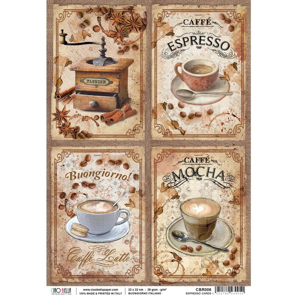 Ciao Bella - Buongiorno Italiano Collection - Espresso Ephemera Cards - Piuma Carta Riso Rice Paper Sheet A4 (CBR006)