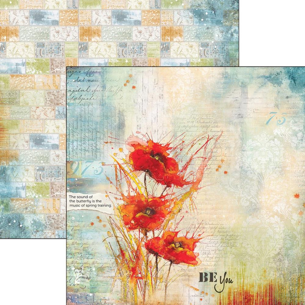 """Ciao Bella - 12""""X12"""" Double-Sided Cardstock - Sound Of Spring - Poppies Dance (CBSS033"""