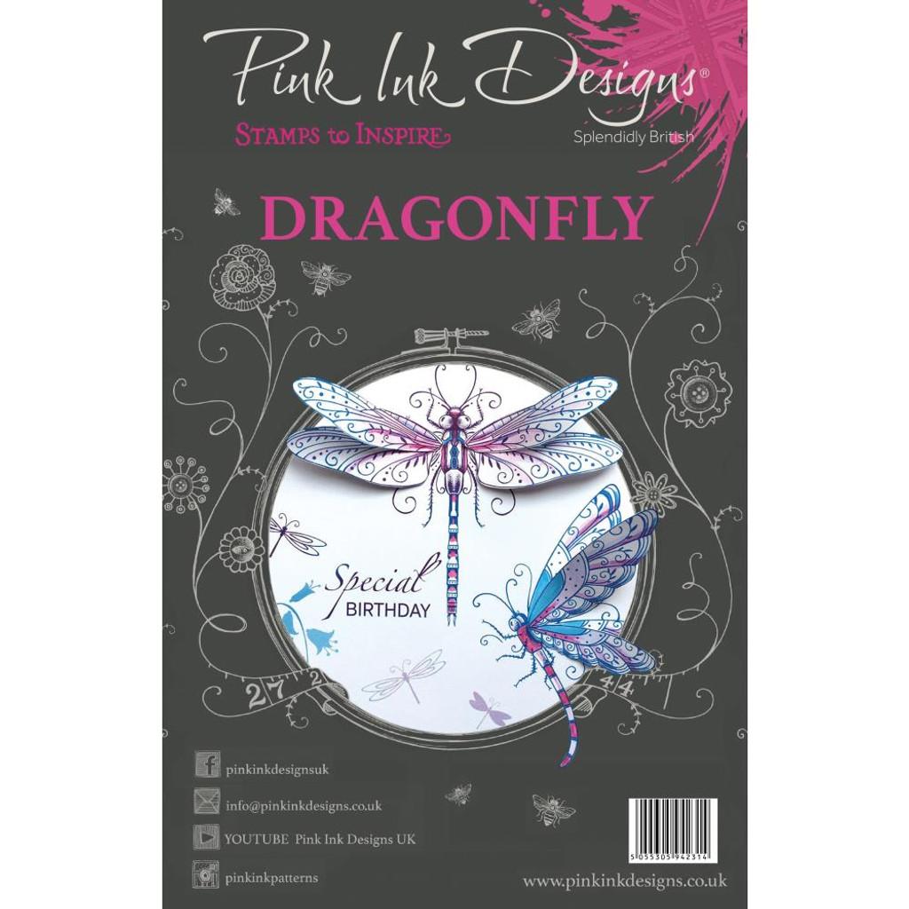 Pink Ink Designs - A5 Clear Stamp Set - Dragonfly (PI005)