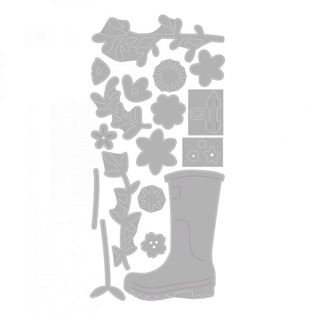 Sizzix - Olivia Rose - Thinlits Die Set - Rain Boot Planter (663322)