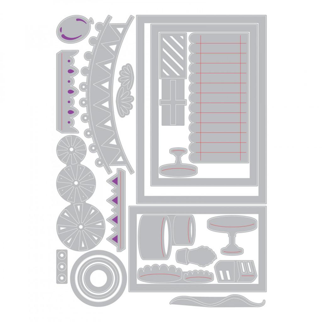 Sizzix - Courtney Chilson - Thinlits Die Set 22PK - Birthday Shadow Box (663581)