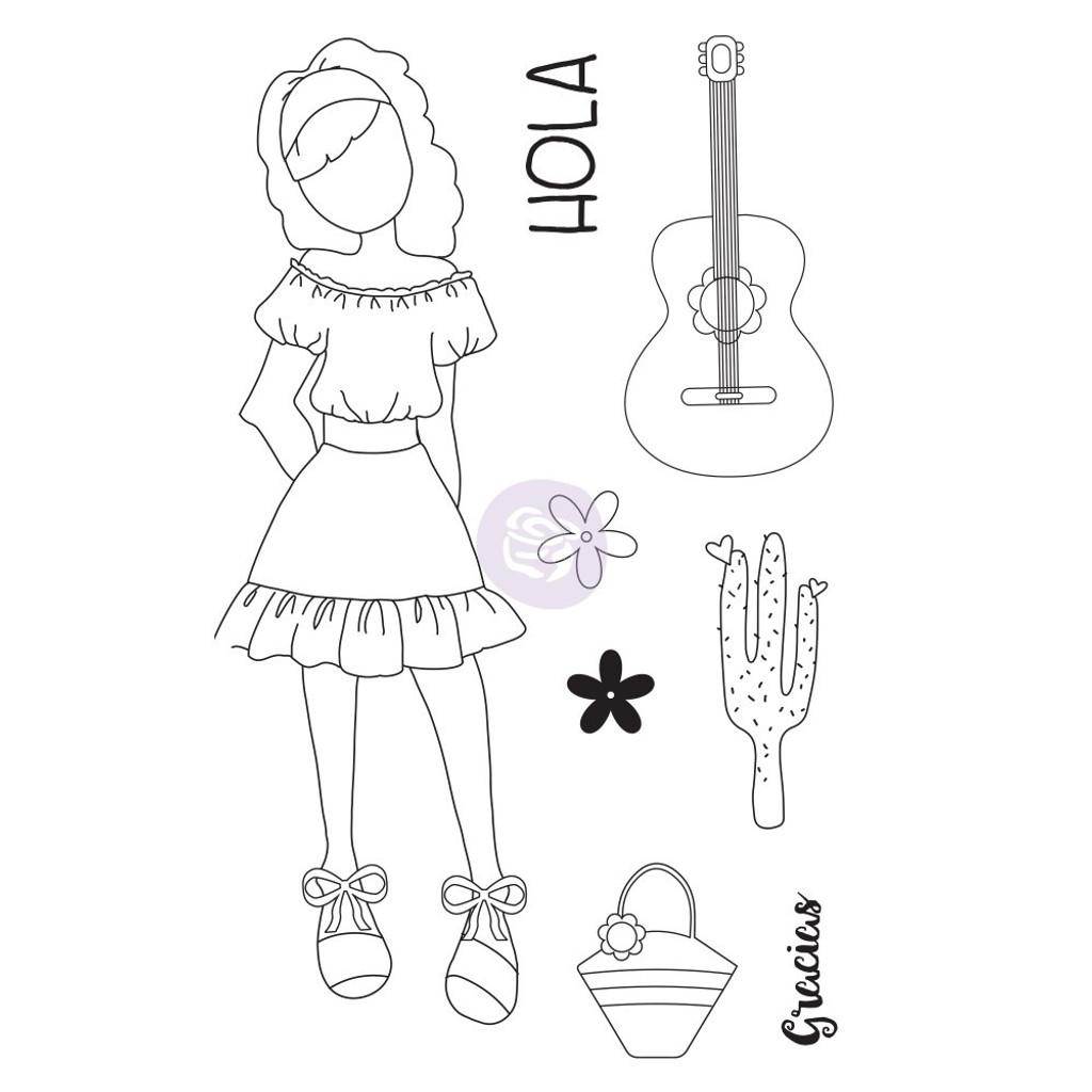 Prima - Julie Nutting - Cling Stamp Set - Traveling Girl - Gabriela (912901)