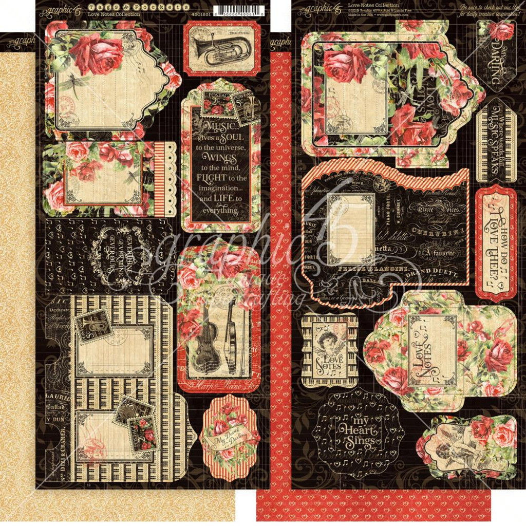 "Graphic 45 - Tags & Pockets Chipboard Die-Cuts 6""x12"" Sheets - Love Notes (G4501831)"