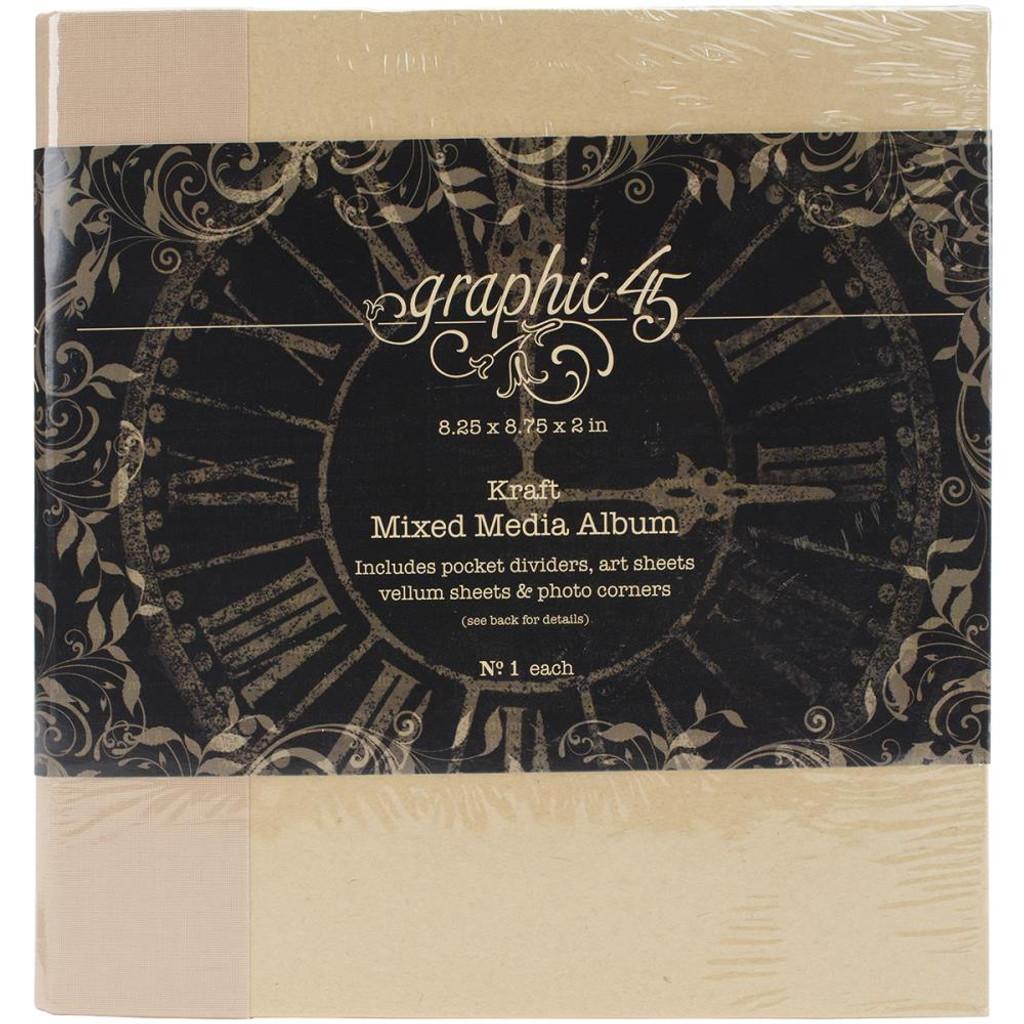 "Graphic 45 - Staples Mixed Media Album 8""X8"" - Kraft (G4501024)"