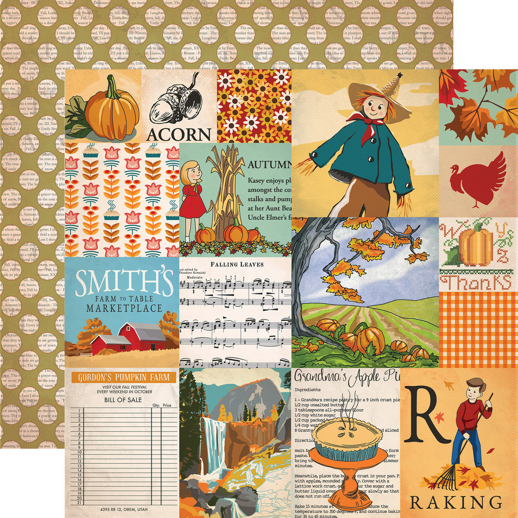 "Carta Bella - Autumn - Double -Sided Cardstock 12""x12"" - Journaling Cards (CBATM57003)"