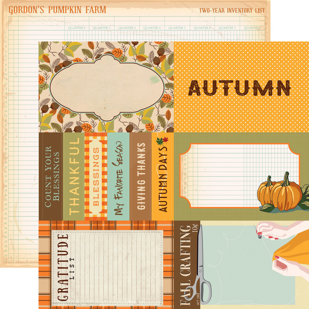 "Carta Bella - Autumn - Double -Sided Cardstock 12""x12"" - 4x6 Journaling Card (CBATM57010)"