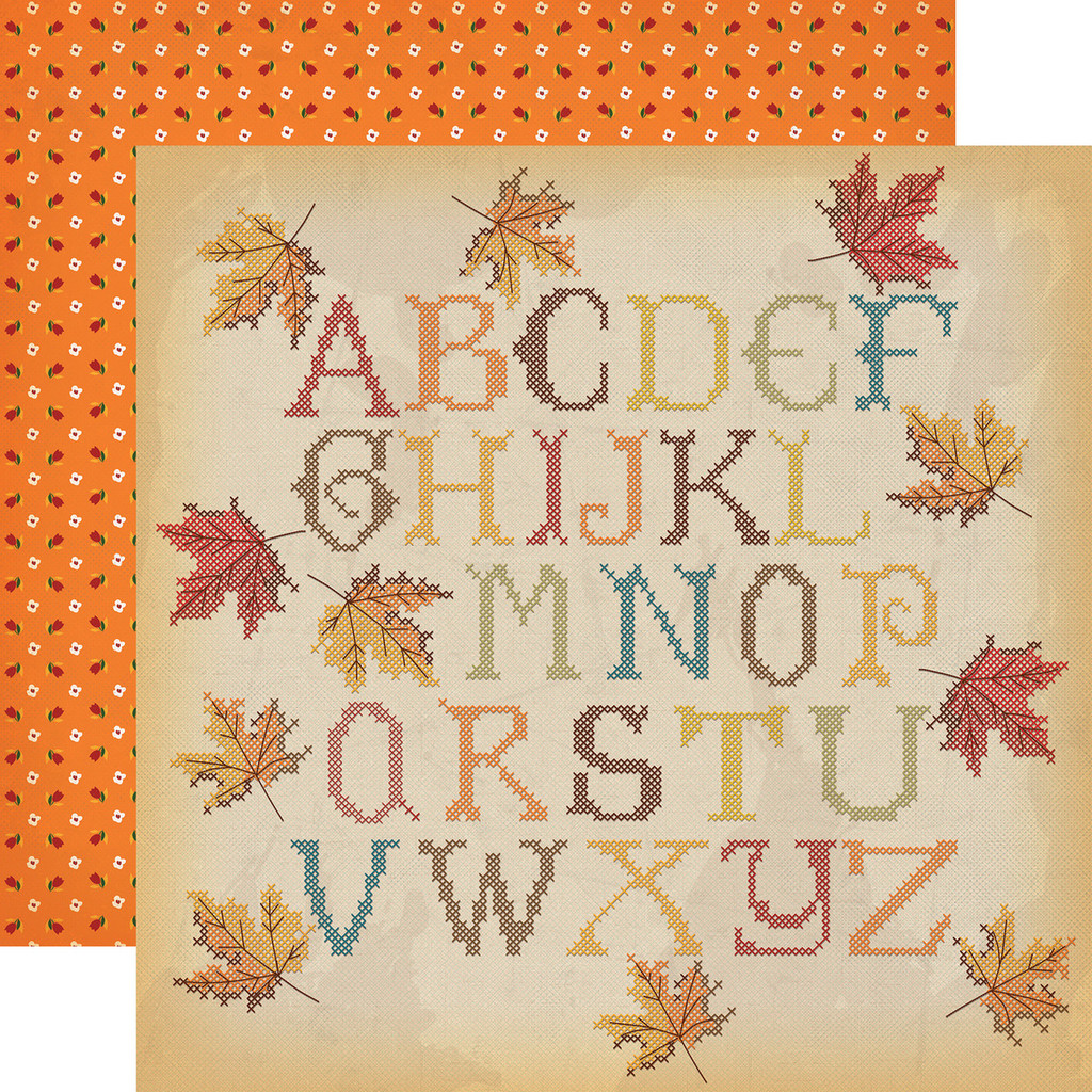 "Carta Bella - Autumn - Double -Sided Cardstock 12""x12"" - Fall Stitching (CBATM57013)"