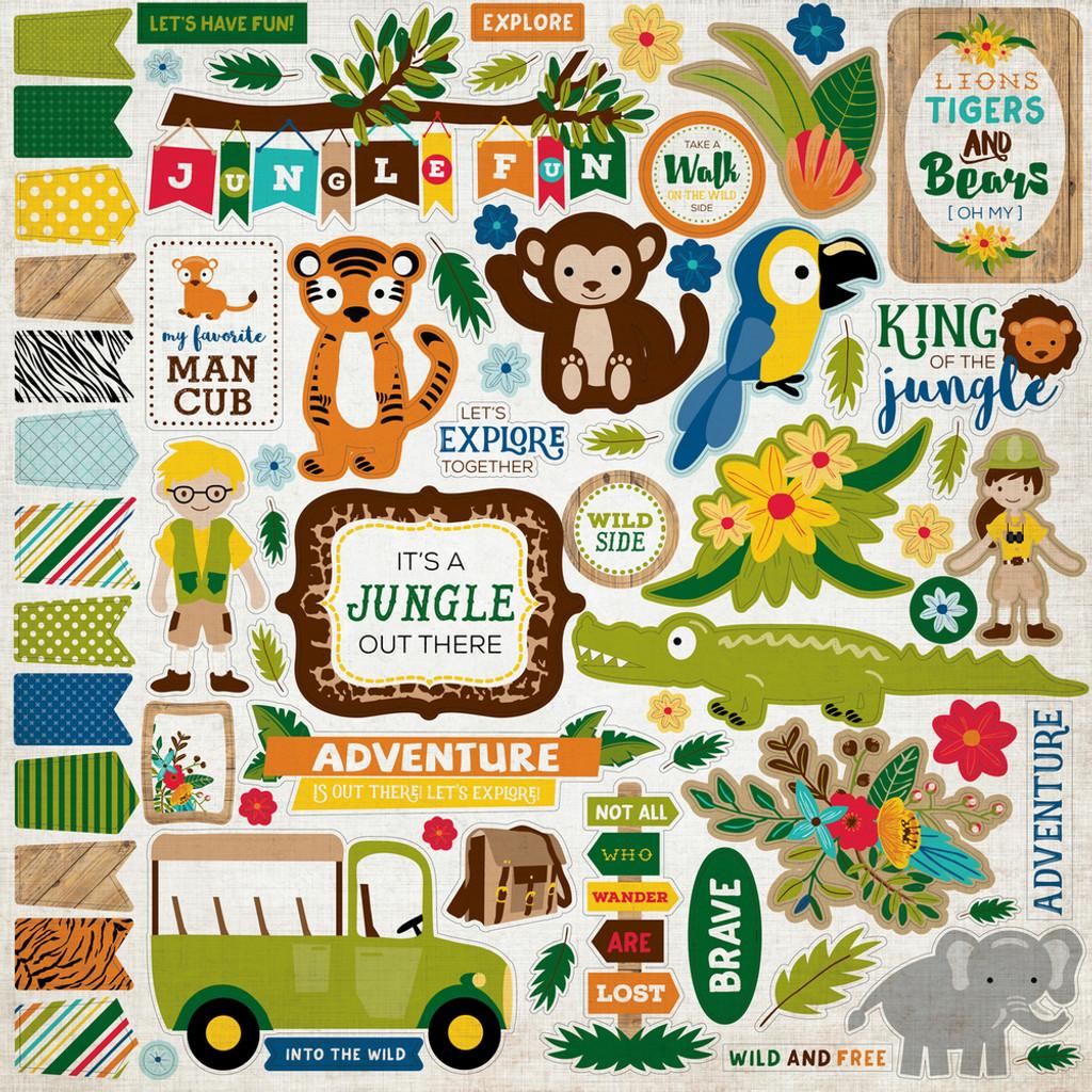"Echo Park - Element Sticker 12""x12""- Jungle Safari (JS117014 )"