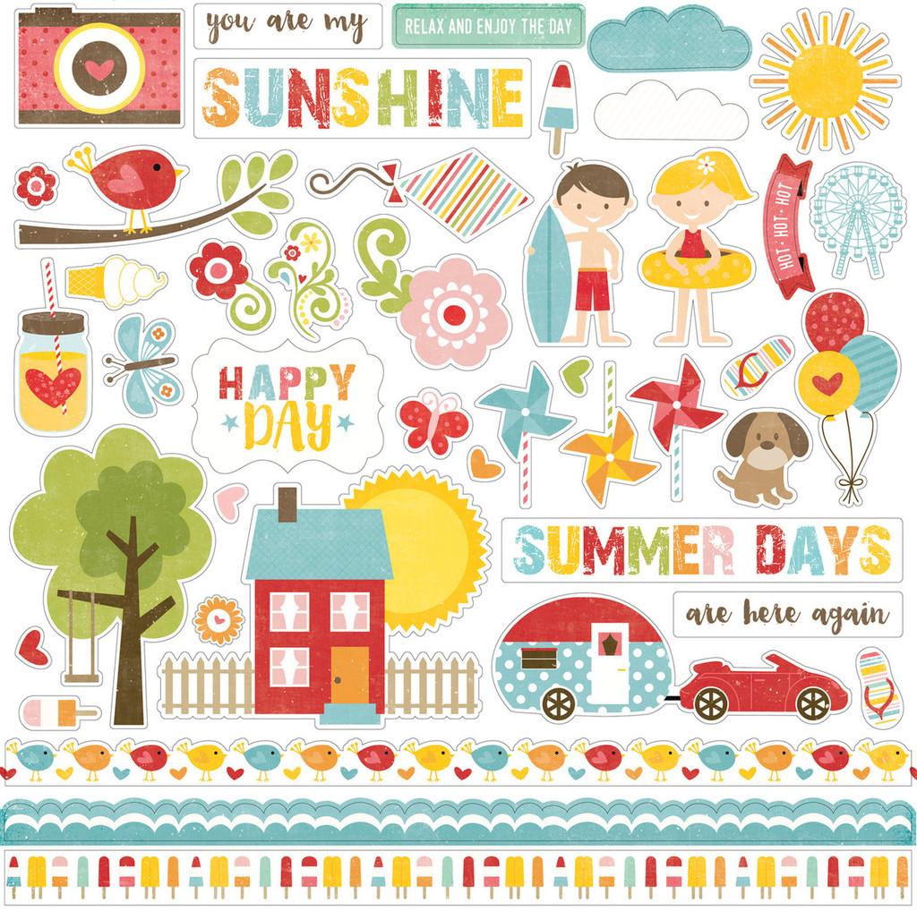 """Echo Park - Element Sticker 12""""x12""""- Happy Summer (HS105014 )"""