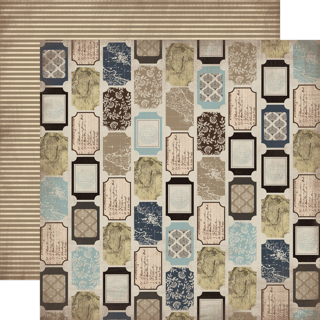"""Carta Bella - Double -Sided Cardstock 12""""x12"""" - Old World Travel - Tickets (CBOWT53007)"""