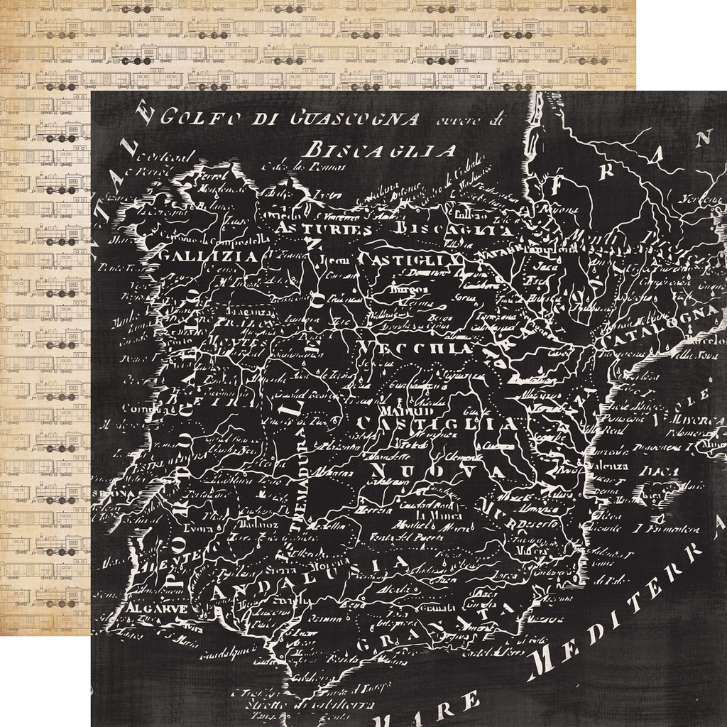 """Carta Bella - Double -Sided Cardstock 12""""x12"""" - Old World Travel - Travel The World (CBOWT53005)"""