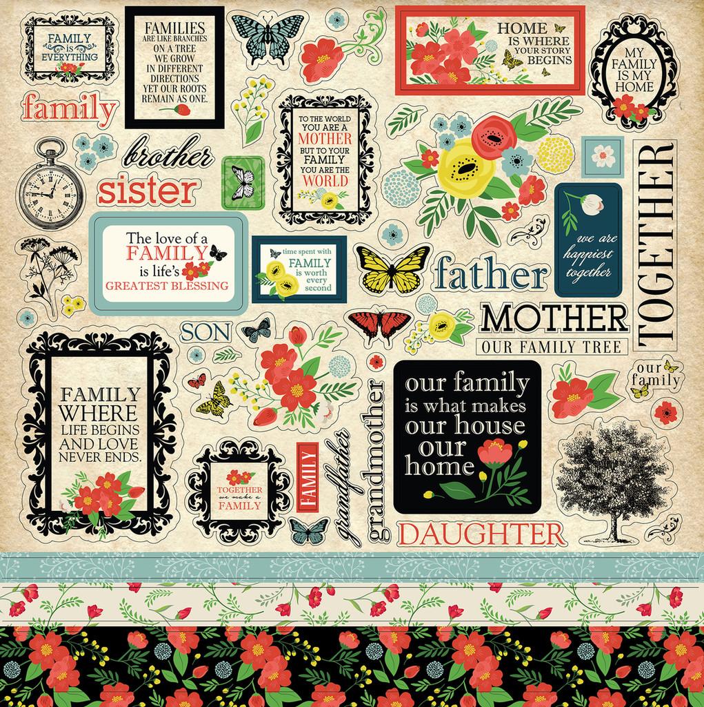 """Carta Bella - Element Sticker 12""""x12""""- Our Family (CBOF75014 )"""