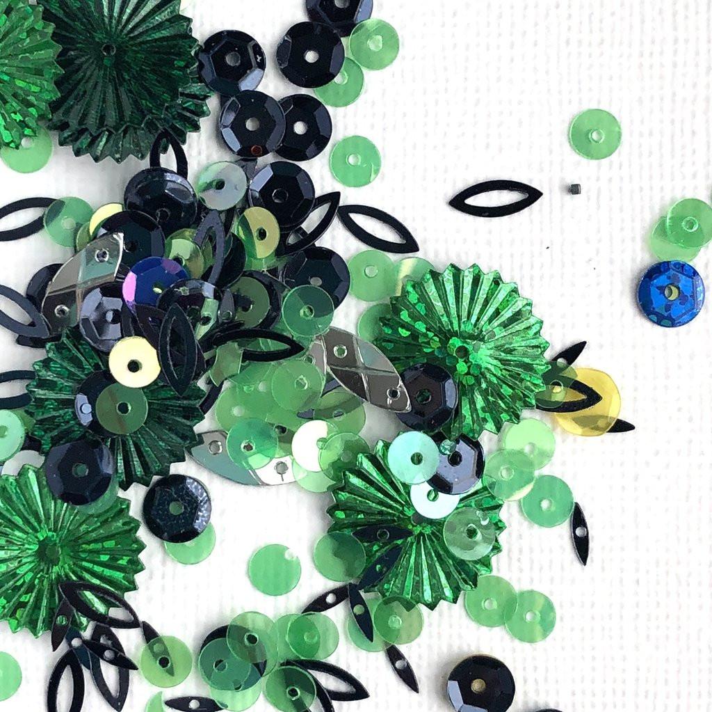 Spiegel Mom Scraps - Sequins - Lush Greenery