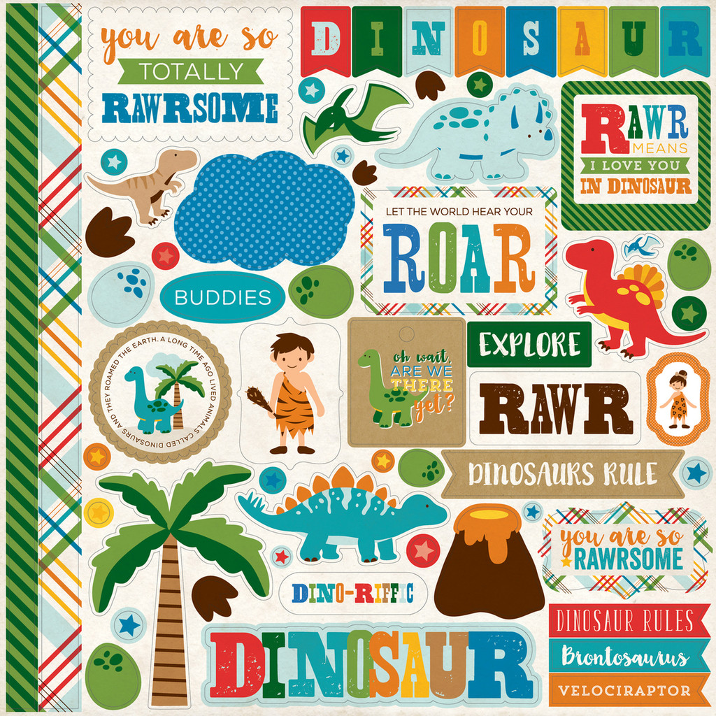 Echo Park - 12x12 Element Sticker Sheet - Dino Friends (DF102014 )