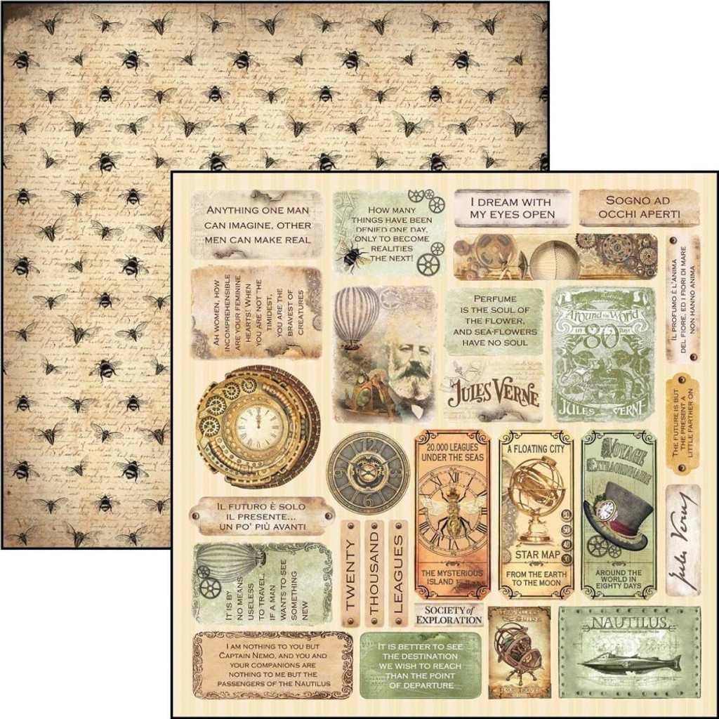 """Ciao Bella - 12""""X12"""" Double-Sided Paper - Voyages Extraordinaires - Mini Cards (CBVE12 073)"""