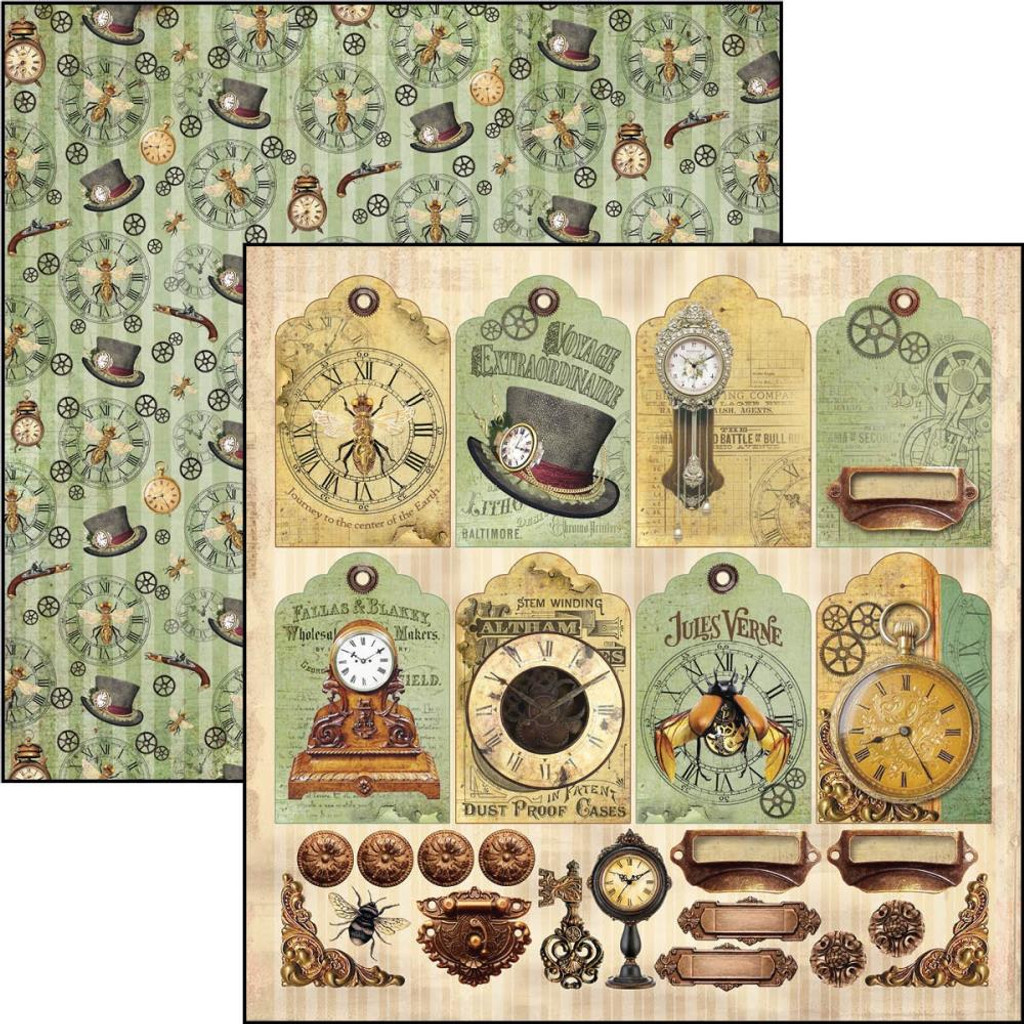 """Ciao Bella - 12""""X12"""" Double-Sided Paper - Voyages Extraordinaires - Tags and Deco (CBVE12 075 )"""