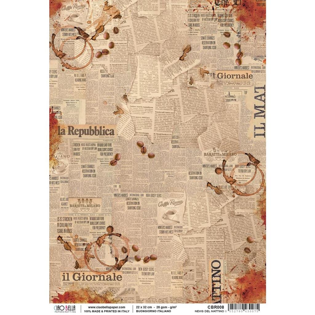 Ciao Bella - Buongiorno Italiano Collection - News Del Mattino - Decoupage Rice Paper Sheet (CBR008)