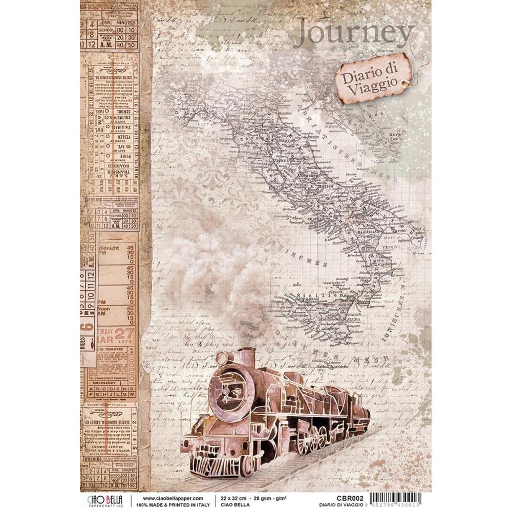 Ciao Bella Collection - Diario Di Viaggio - Decoupage Rice Paper Sheet (CBR002)