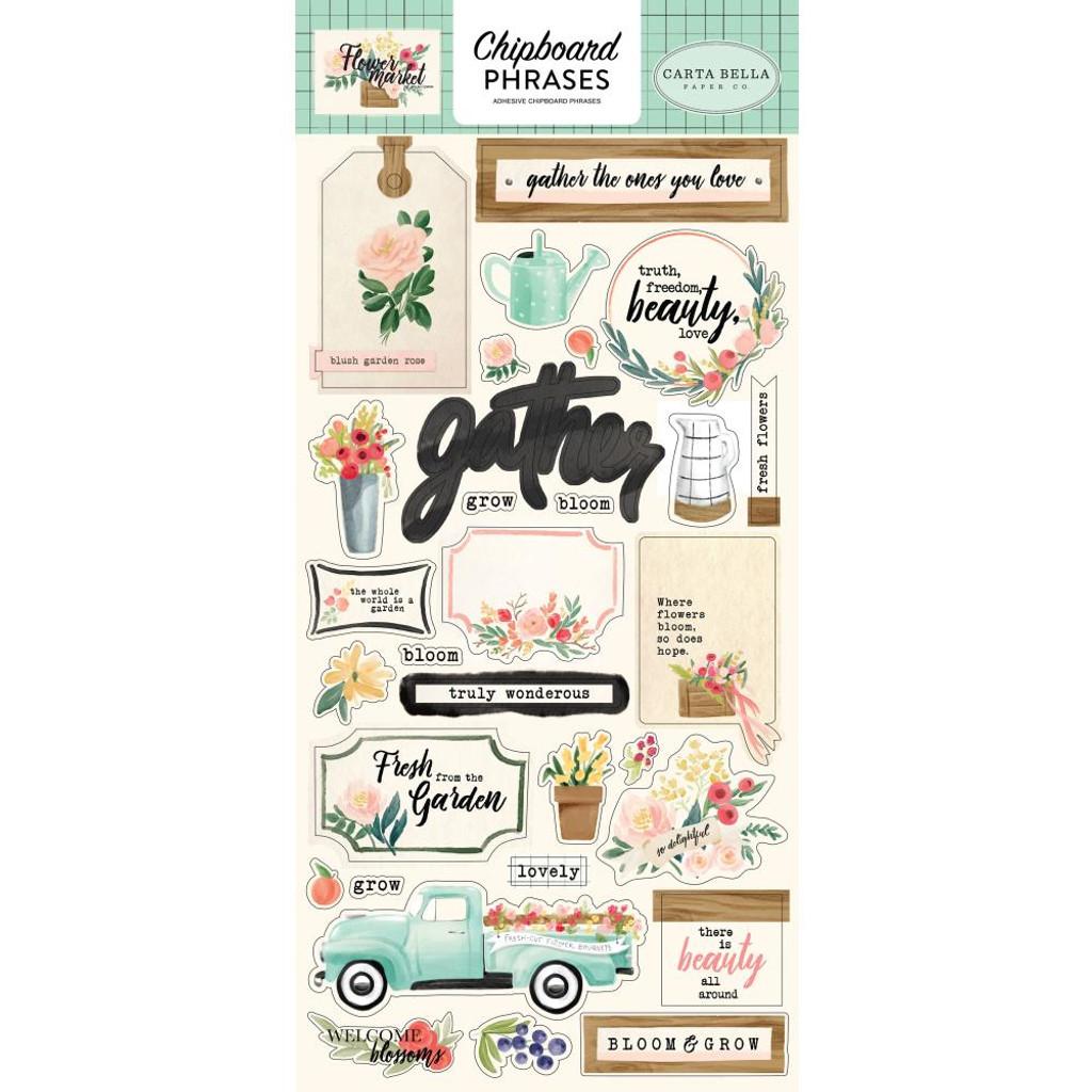 Carta Bella - Chipboard 6x12 - Flower Market - Phrases (CBMK96022)