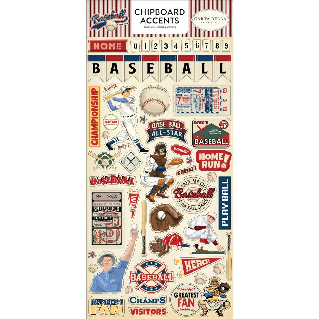 Carta Bella - Chipboard Die-Cuts 6x13 - Baseball - Accents (CBBA95021)