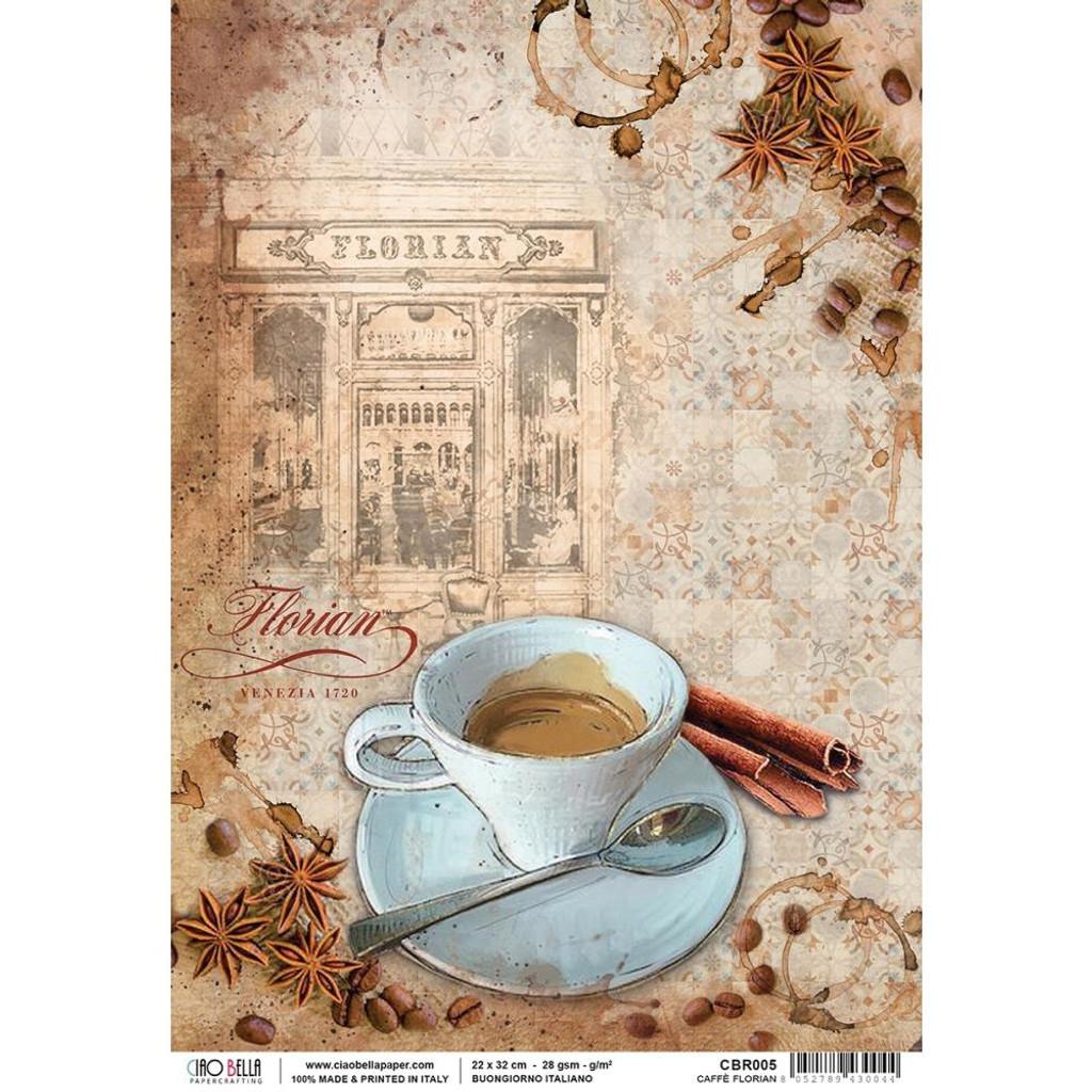 Ciao Bella - Buongiorno Italiano Collection - Caffe Florian - Decoupage Rice Paper Sheet (CBR005)